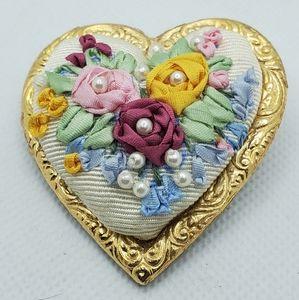 Handmade Puffy Heart Brooch Floral & Pearl Design